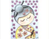 Kokeshi ATC, Kokeshi Doll ACEO, Artist Trading Card, Pink Blossom Kokeshi Drawing, Oriental Doll Trading Card, Miniature Doll Design Card