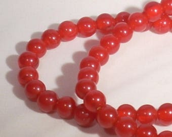 10 round 8mm red acrylic beads