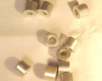 Set of 10 round acrylic beads tubes Silver 5mm