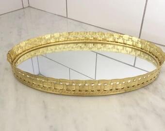 Gold Vanity Tray Mirror, Vintage Vanity Decor, Gold Basketweave Tray, Hollywood Regency, Oval Vanity Tray