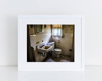 Retro Bathroom - Urban Exploration - Fine Art Photography Print