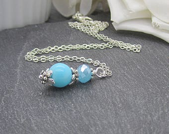 Aqua Pearl Necklace, Aqua Bridesmaid Jewellery, Blue Wedding Sets, Bridesmaid Gifts, Aqua Wedding, Turquoise Bridal Sets