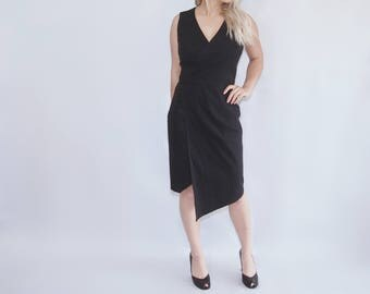 Little Black Dress asymmetrical v-neck minimalist wrap business office cocktail dress
