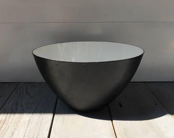 Mid Century White Krenit Enamelware Bowl // Large