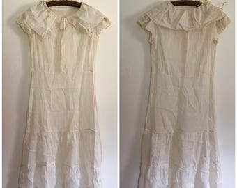 1930s Ivory Voile Day Dress Semi Sheer Ethereal XS