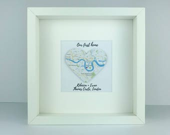Framed 3D map heart | housewarming new home gift | first home | personalised gift