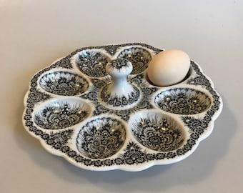 Cepelia Opole Vintage Hand Painted Polish Folk Art Deviled Egg Dish
