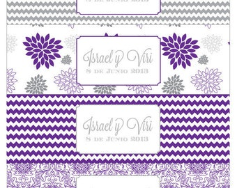 Custom Color - Purple and Grey Dahlia Printable Water Bottle Labels