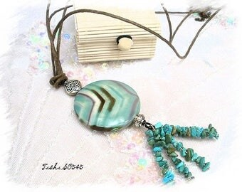 Necklace ethnic agate and turquoise * Tasha SO545 *.