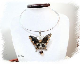 Necklace Silver Aluminum and enameled Butterfly chocolate * CO660