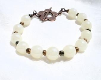 copper bracelet ivory flower glass beads