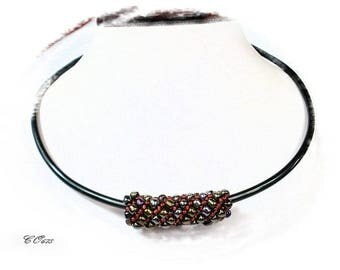 aluminum Choker necklace black adjustable neck and woven beads CO678