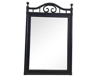 Navy Lacquered Faux-Bamboo Mirror