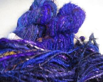 100 grams, Mulberry Silk Yarn,  Indigo,  Fair Trade item