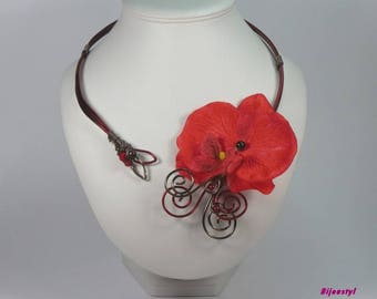 Set necklace & fancy ORKIDELA with its red-chocolate Orchid earrings