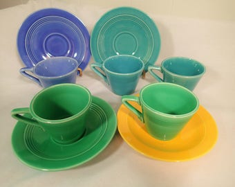 Homer Laughlin Harlequin Demitasse cup & saucer sets and sparel cups  sold separately Fiesta colors Light Green Turquoise Blue Mauve