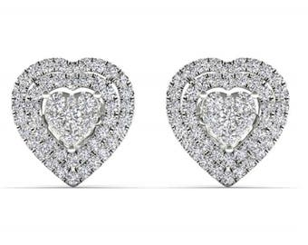 10Kt White Gold 0.33 Ct Diamond Heart Shape Stud Earrings