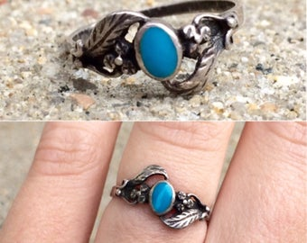 vintage sterling silver turquoise inlay band ring size 6.5