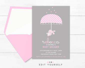GIRL BABY SHOWER Invitation, Bunny Baby Shower Invitation, Baby Shower Girl, Baby Shower Bunny, Baby Sprinkle Girl, Printable Baby Shower