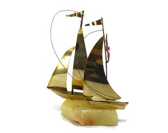 Vintage Yosi Brass Sailboat * Nautical Beach Decor * Boat Sculpture