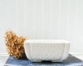 Vintage White Planter - Rectangle Ceramic Pottery Dish USA 76 Brush McCoy