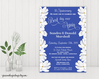 Vow Renewal Invitation, Silver Anniversary Party, 25th Wedding Anniversary Invite, 10th Vow Renewal, 15th Anniversary, Printable, V27001