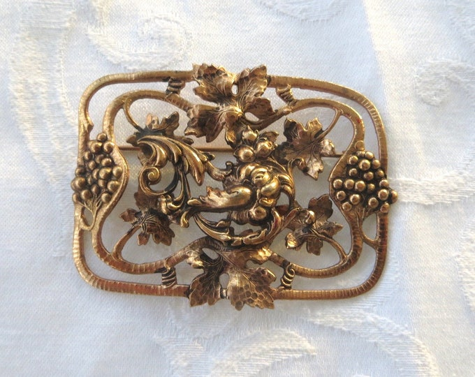 Art Nouveau Sash Pin, Vintage Nouveau Brooch, Grapes Leaves Florals, Vintage Jewelry