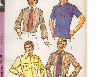 """A Retro Shirt Wardrobe Pattern for Men: Neckband, Yoke, Long/Short Sleeves, Buttoned or Pullover - Chest 46, Neck 17-1/2"""" • McCall's 3439"""