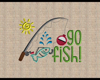 Go fish Embroidery Design Fishinf Pole Embroidery Design Fish Embroidery Design Summer Time Embroidery Design Lake Design River Design