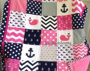 HOT PINK & NAVY Nautical Quilt Crib Skirt Option/Coastal Nursery