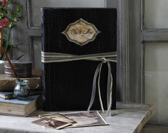 Handmade traditional black paged photo album with interleaving | Black art deco photo album, hand bound  ,custom made to order 8.5x11 inches