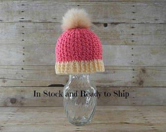 Child Pom Pom Hat- -Hat with faux fur pom pom - Kids Hat - Winter Hat - Pink Child  Hat with Pom Pom - Ready to Ship - Valentine gift