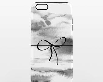 Bow Knot Watercolor iPhone Case Tough Phone Case Marbled Classic Black and White Minimalist iPhone 7 Plus Case iPhone 6 Plus Case 6s 5 5s 5c