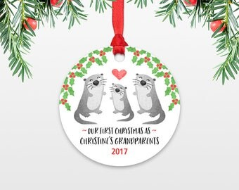 Otter New Grandparents Christmas Ornaments First Christmas as Grandma and Grandpa Personalized Christmas Ornament Christmas Gift