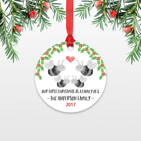 Family Christmas Ornament New Parents Gift Our First Christmas Ornament Family of 4 Four Honey Bee New Baby Personalized Christmas Ornament