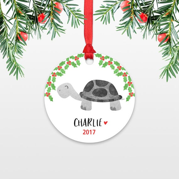 Turtle Personalized Kids Christmas Ornament Childs Name Ornament Christmas Gift Exchange Ideas Animal Stocking Stuffer for Women for Men