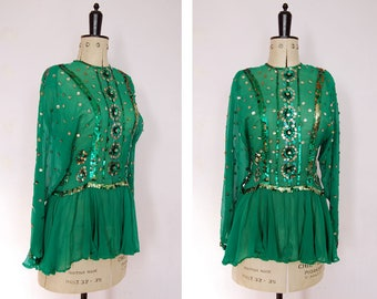 Vintage 1930s 40s green sheer sequin handmade ice skater dress top - Figure skating dress - Sequin show girl dance circus costume NYE