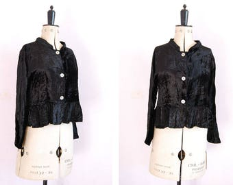 Vintage crushed velvet peplum cardigan jacket - Black velvet jacket - Velvet button blouse - Velvet top - Velvet shirt - Crushed velvet