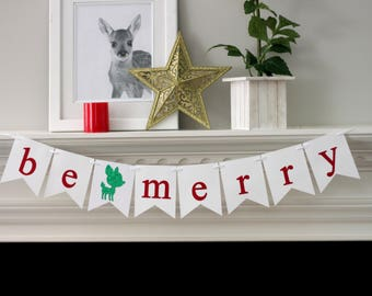 be merry banner - christmas decorations - holiday decorations - christmas banner - holiday banner - baby deer - be merry