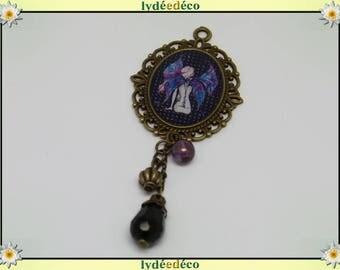 Brooch woman fairy resin bead charm retro vintage pink blue black lace