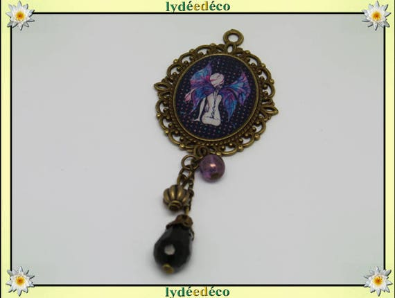Brooch woman fairy resin bead charm retro vintage pink blue black lace
