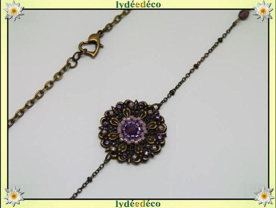 Vintage flower headband print and purple glass beads bronze