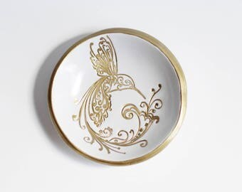 Hummingbird Jewelry Dish // Gold Ring Dish // Bridal Shower Favor // Wedding Favor // Engagement Gift // Girlfriend Gift // Gold Hummingbird