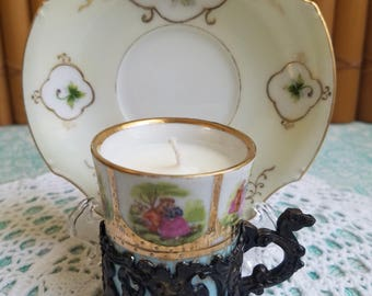 Mismatched! Detaled Demitasse Teacup Candle and Saucer