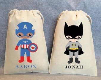"30- Superhero party, Superhero Birthday, Superhero favors, Superhero party supplies, Superhero Party Favor Bags, Superheroes, 5""x8"""
