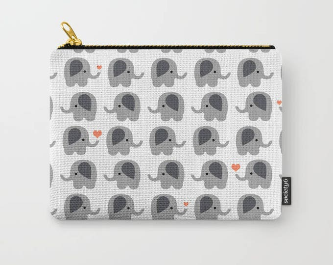 Elephant with Orange Hearts Carry All Pouch - Make-up Bag- Pouch- Toiletry Bag - Change Purse - Organizing Bag - Made to Order