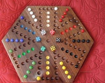 6 Player Aggravation Game Made From Solid Black Walnut