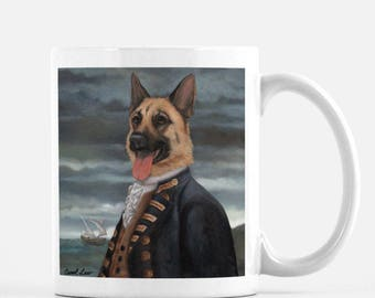 "German Shepherd Mug, Cute Dog Mug Tea Mug, Dog Coffee Mug, ""Admiral Shepherd"""