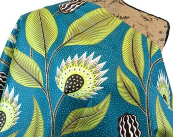 African Wax Print--Ankara Fabric--Vlisco Java Print--African Print Fabric--Teal, Lime, Brown Abstract Floral--Fabric by the HALF YARD