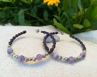 Purple love macrame earrings.Amethyst macrame hoop earrings handmade by Bella Marietta
